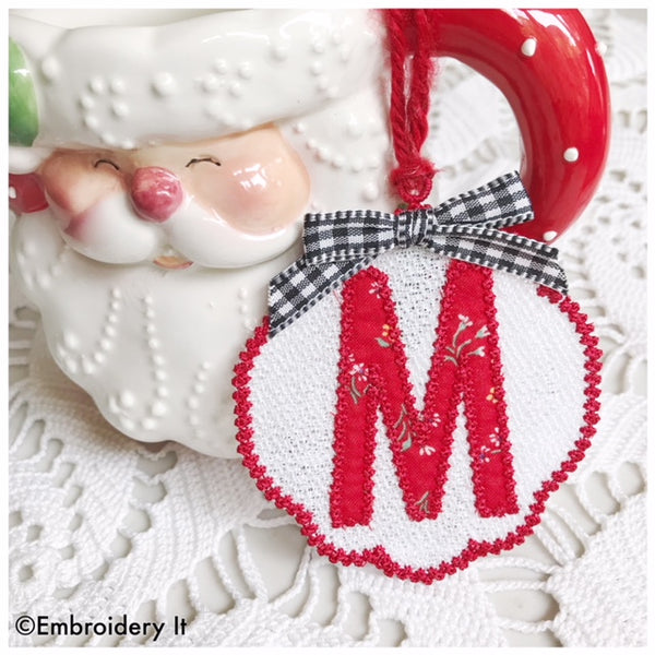 Free standing lace Christmas ornament and gift tag with applique monogram