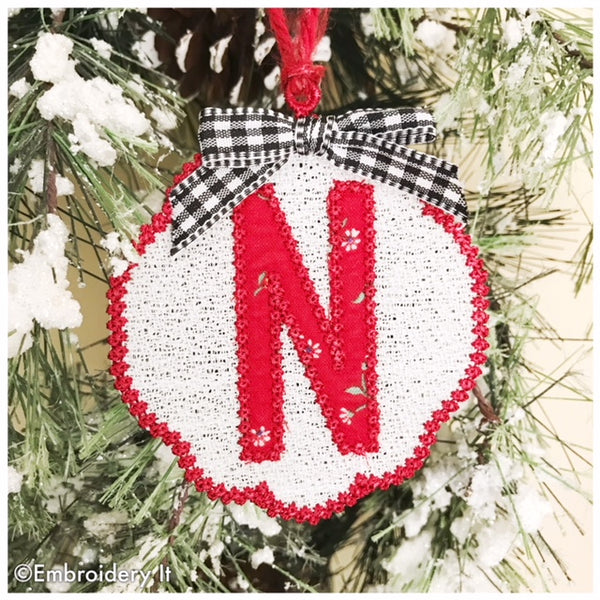 Free standing lace monogram Christmas ornament embroidery design