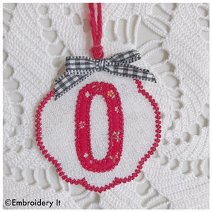 FSL Applique Christmas ornament letter O