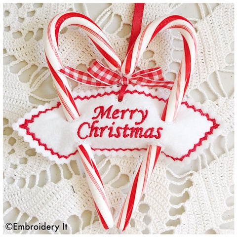 merry Christmas sweetheart candy cane machine embroidery design