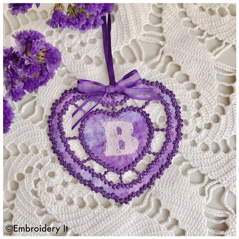 Cutwork monogram gift tag machine embroidery design