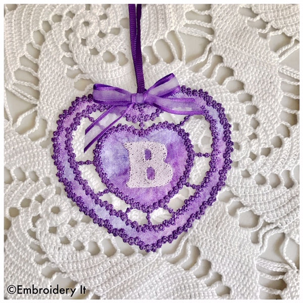 machine embroidery cut work gift tag alphabet