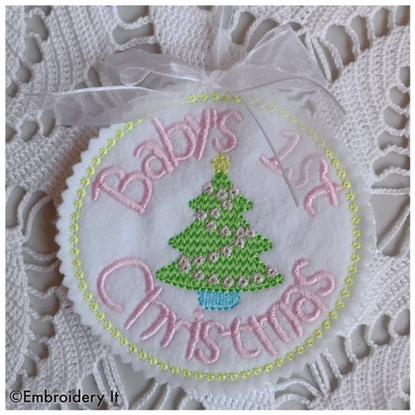 Baby's first Christmas machine embroidery in the hoop gift tag