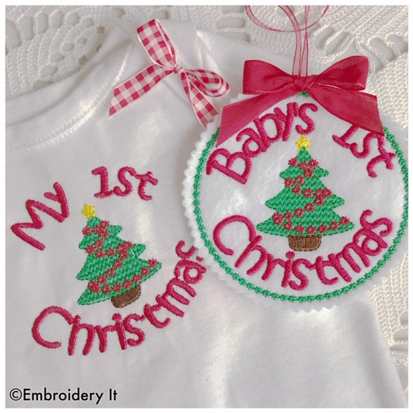 Baby's 1st Christmas and My 1st Christmas machine embroidery design