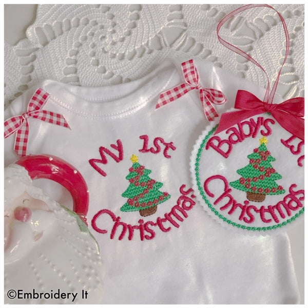 My First Christmas machine embroidery in the hoop design