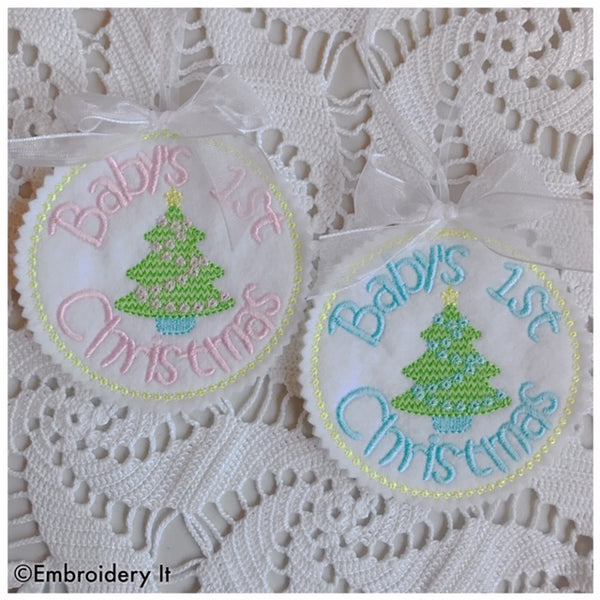 Baby's 1st Christmas machine embroidery Christmas ornament and gift tag
