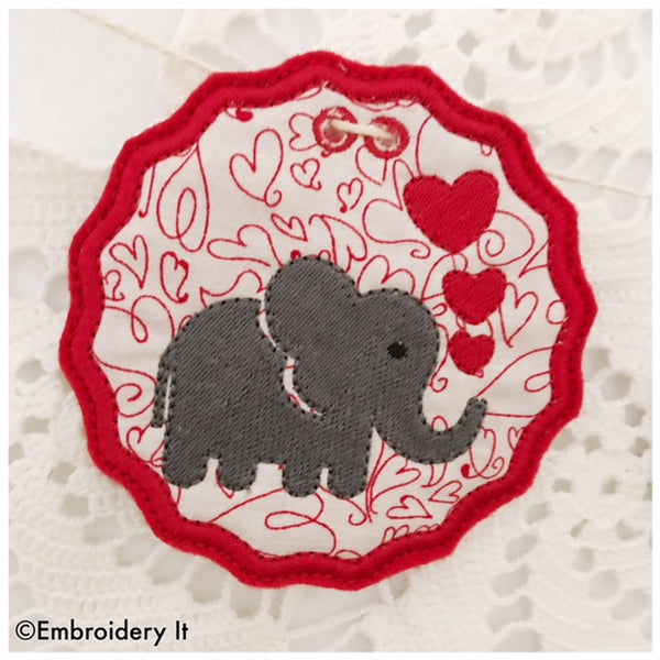 Machine embroidery banner in the hoop elephant