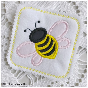 Bee coaster in the hoop machine embroidery design