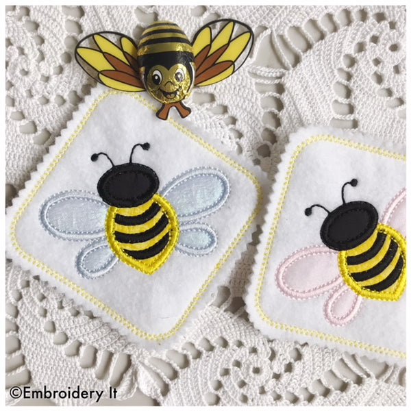 Bee coaster applique machine embroidery design