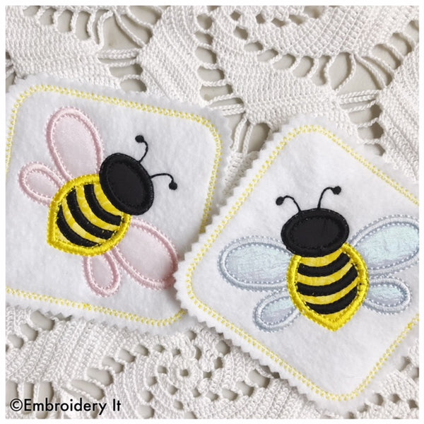 machine embroidery applique bee coaster pattern