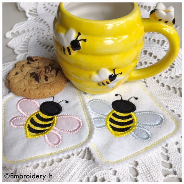 machine embroidery in the hoop bee coaster pattern