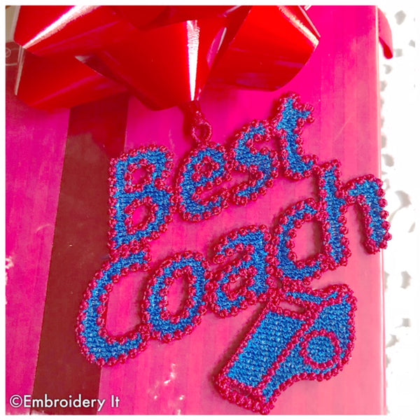 Coach freestanding lace gift tag Christmas ornament embroidery pattern