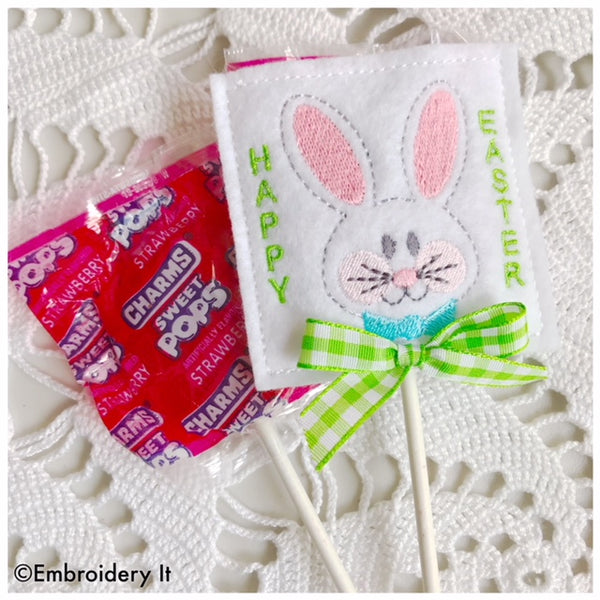 machine embroidery in the hoop bunny lollipop holder