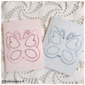 Machine embroidery butterfly card design