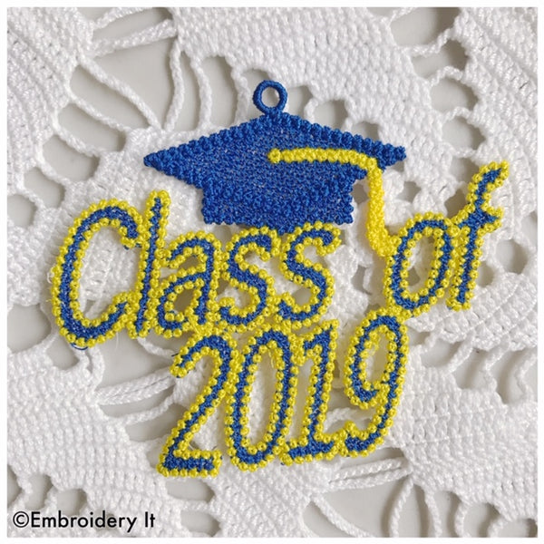 Free standing lace class of 2019 graduate machine embroidery