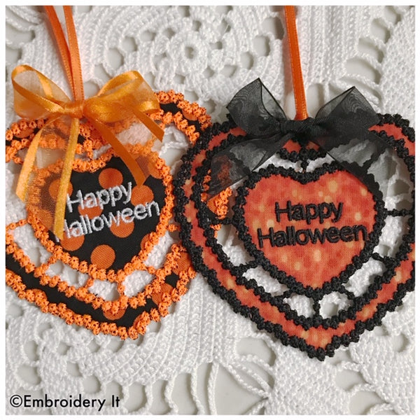 Cutwork Happy Halloween machine embroidery design and gift tag