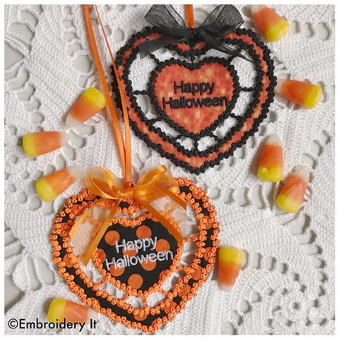 Machine embroidery cutwork Halloween design