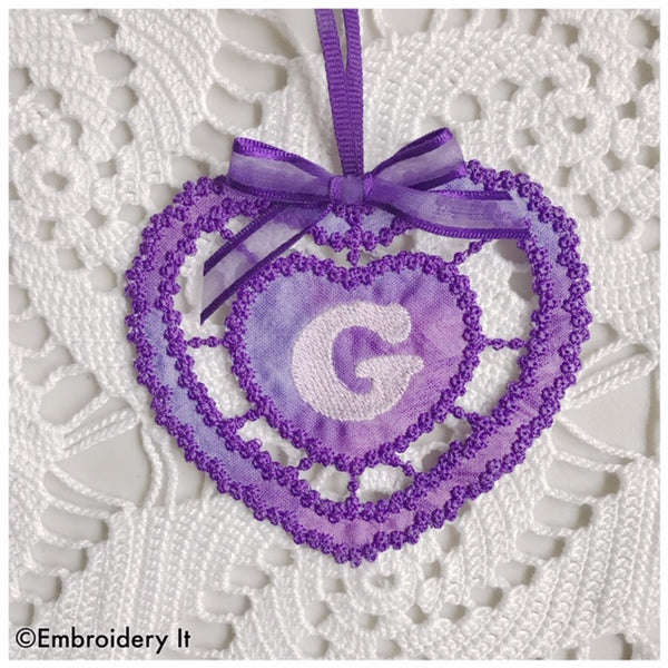 Cutwork knobby heart alphabet letter G machine embroidery design