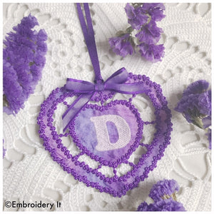 Cut work knobby heart letter D monogram gift tag