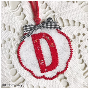 Free Standing Lace monogram Christmas ornament