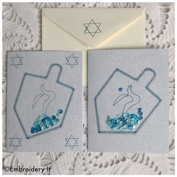 Hanukkah machine embroidery design dreidel shaker card