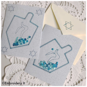 Machine embroidery dreidel Hanukkah shaker card