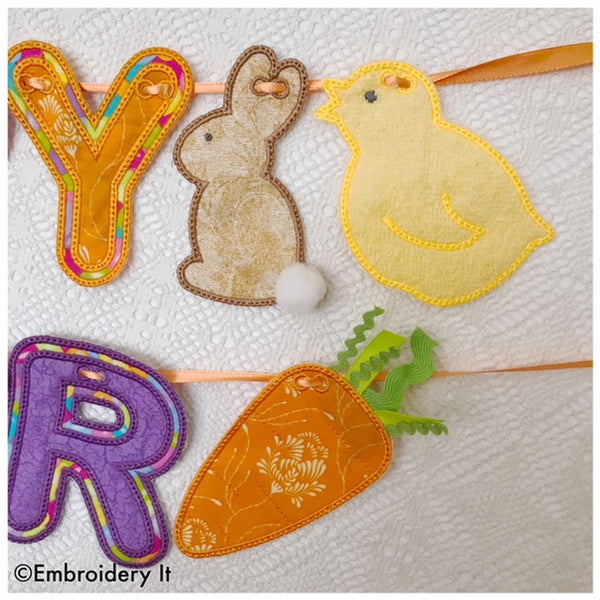 in the hoop machine embroidery bunny, chick and carrot