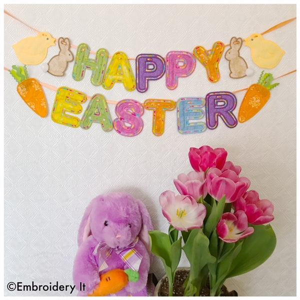 machine embroidery in the hoop Easter designs, banner bunny, banner chick and banner carrot