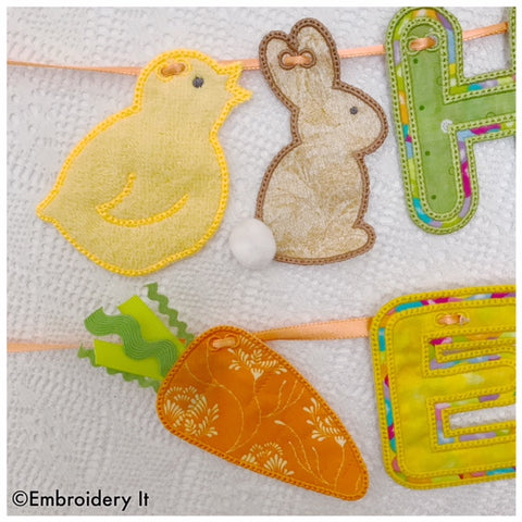 Machine embroidery in the hoop Banner Easter Chick, Easter bunny, Easter Carrot