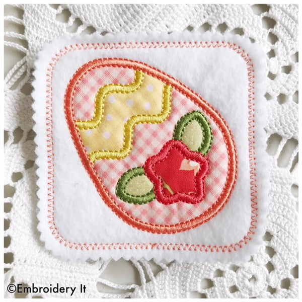 Simple Easter Egg Applique Coaster machine embroidery design