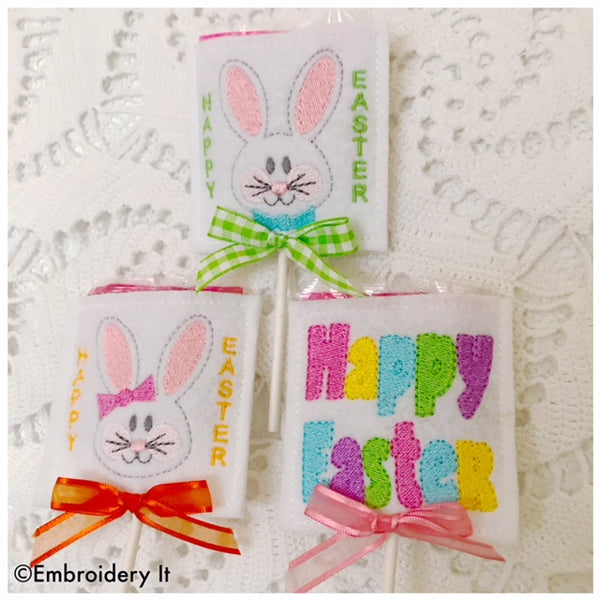 Machine embroidery in the hoop Easter Lollipop covers