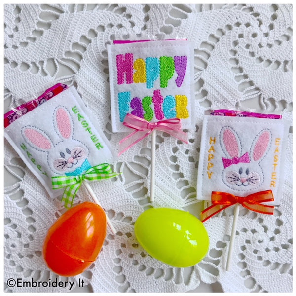 Machine embroidery in the hoop Easter Sucker covers