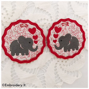 Machine embroidery banner elephants