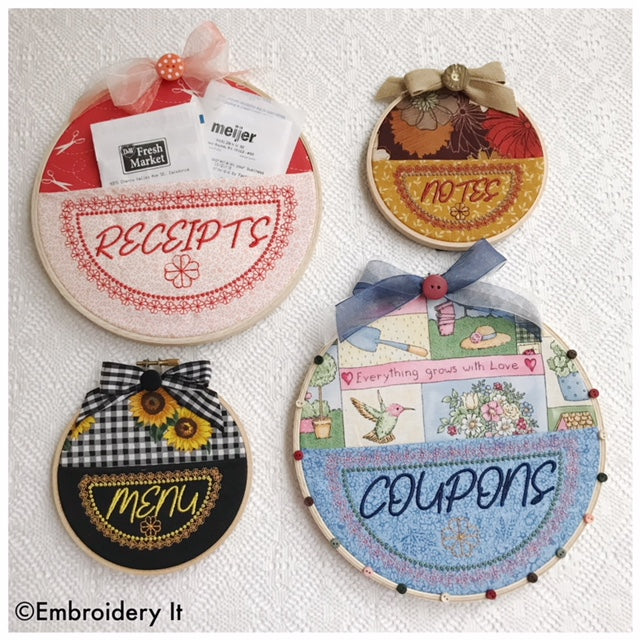 Machine embroidery embroidery hoop pocket organizers