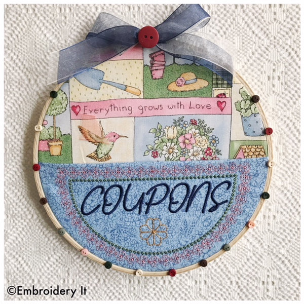 machine embroidery coupon organizer