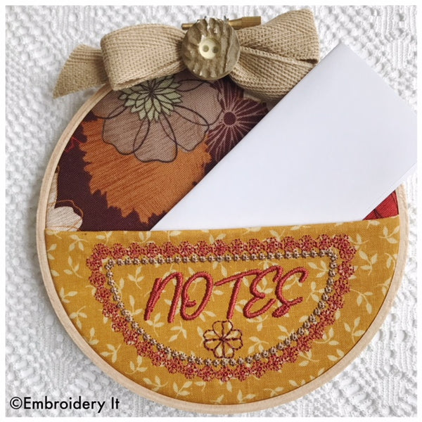 machine embroidery notes pocket