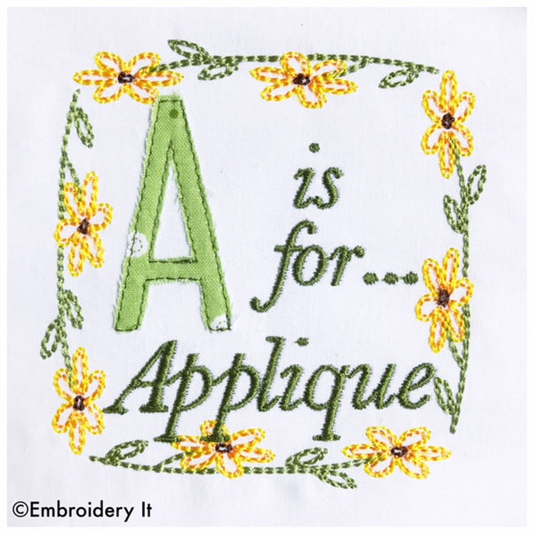 Embroidery words a is for applique machine embroidery design