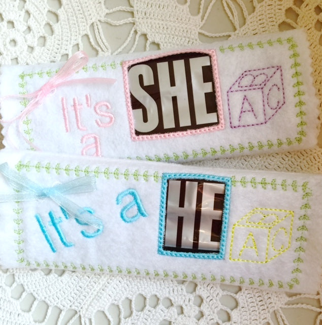 Gender reveal candy bar wrappers machine embroidery designs