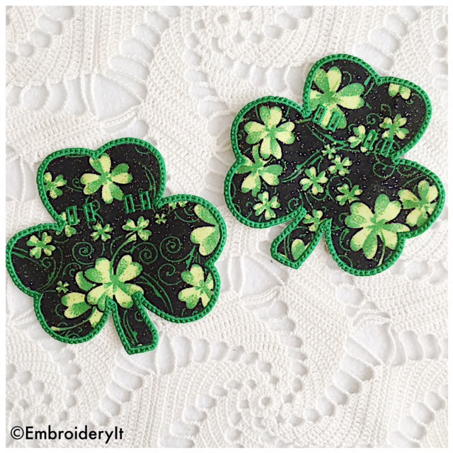 Banner shamrock in the hoop machine embroidery design