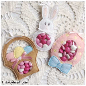 Machine embroidery Easter Candy holders