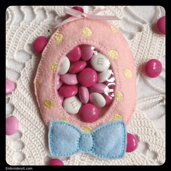 Machine Embroidery Easter Egg candy holder in the hoop design