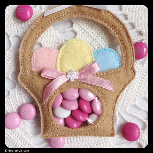 Machine embroidery Easter basket candy holder in the hoop design