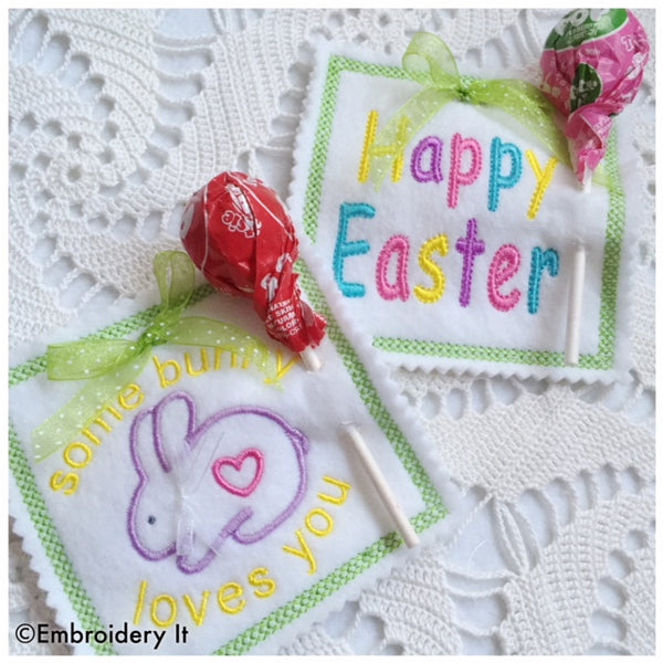 Machine embroidery Easter lollipop holders