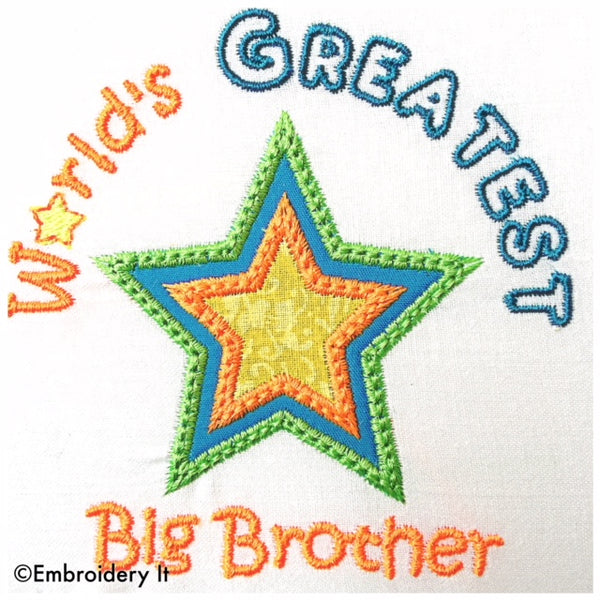 Greatest big brother machine embroidery applique design