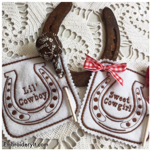 in the hoop machine embroidery cowboy lollipop holders