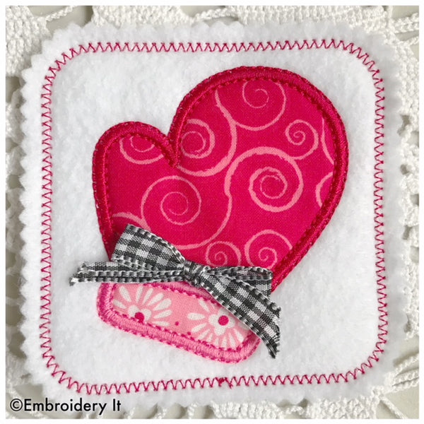 Applique mitten coaster machine embroidery design