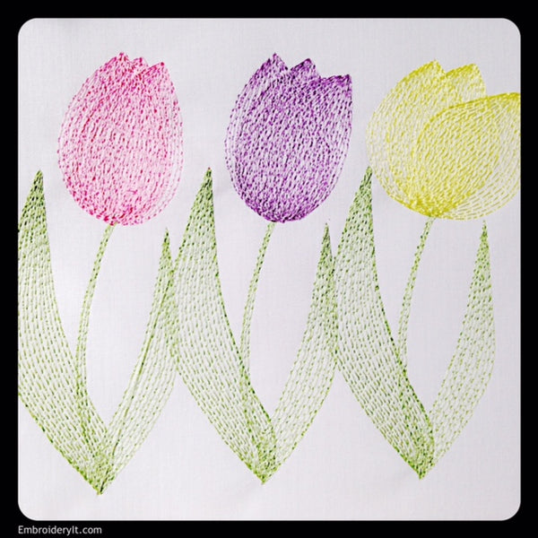 Machine embroidery design painted tulips