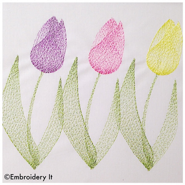 Machine embroidery tulips design