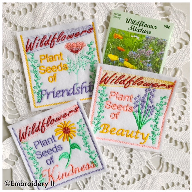 Seed Packet Pockets machine embroidery in the hoop designs