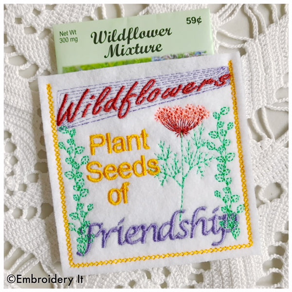 Machine embroidery friendship seed packet pocket